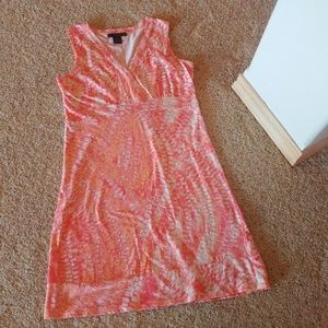 CK Cotton Sun Dress Tie-Dye Pattern Pink Orange